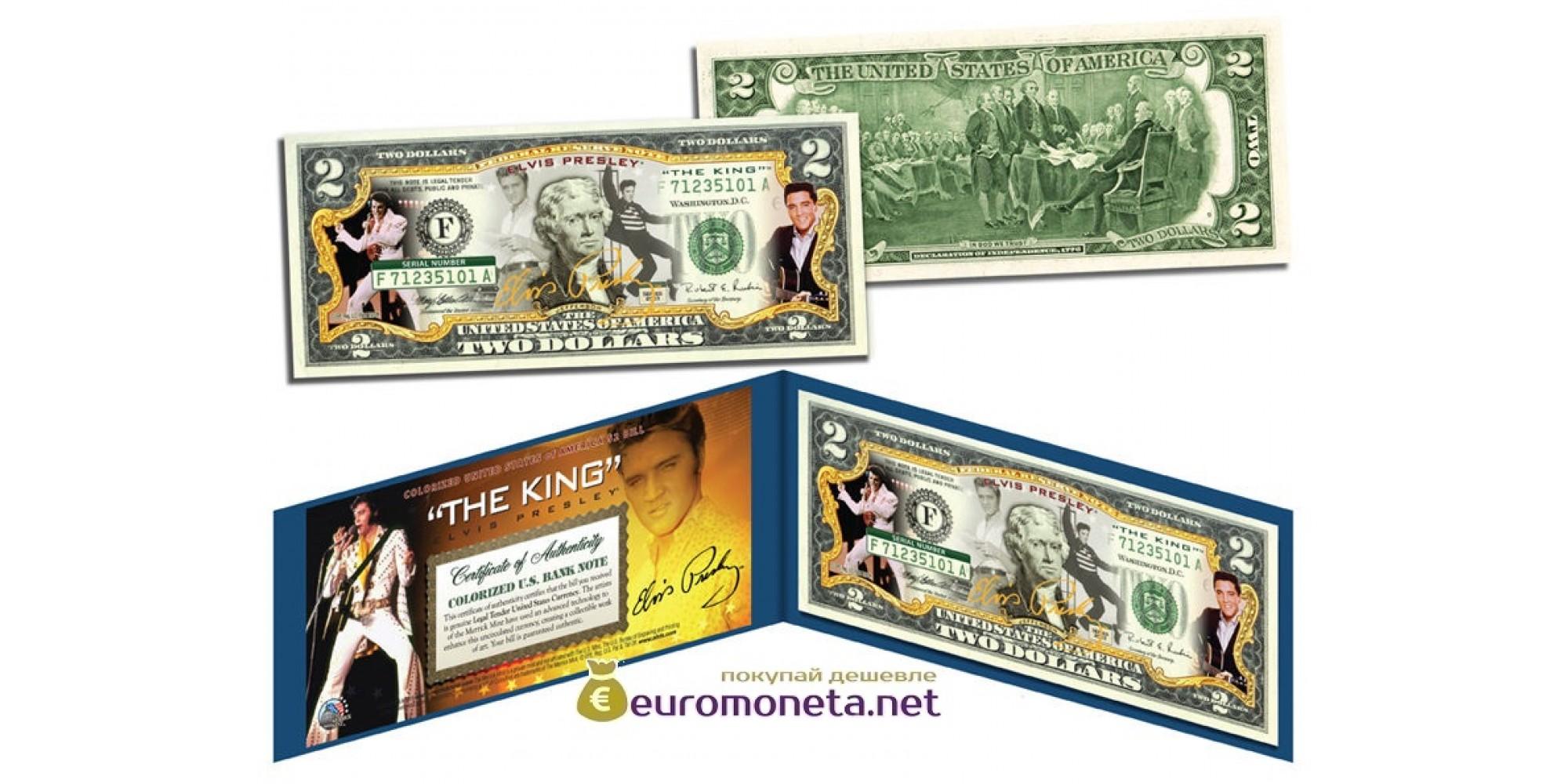США 2 доллара Элвис Пресли цветные фотопечать оригинал