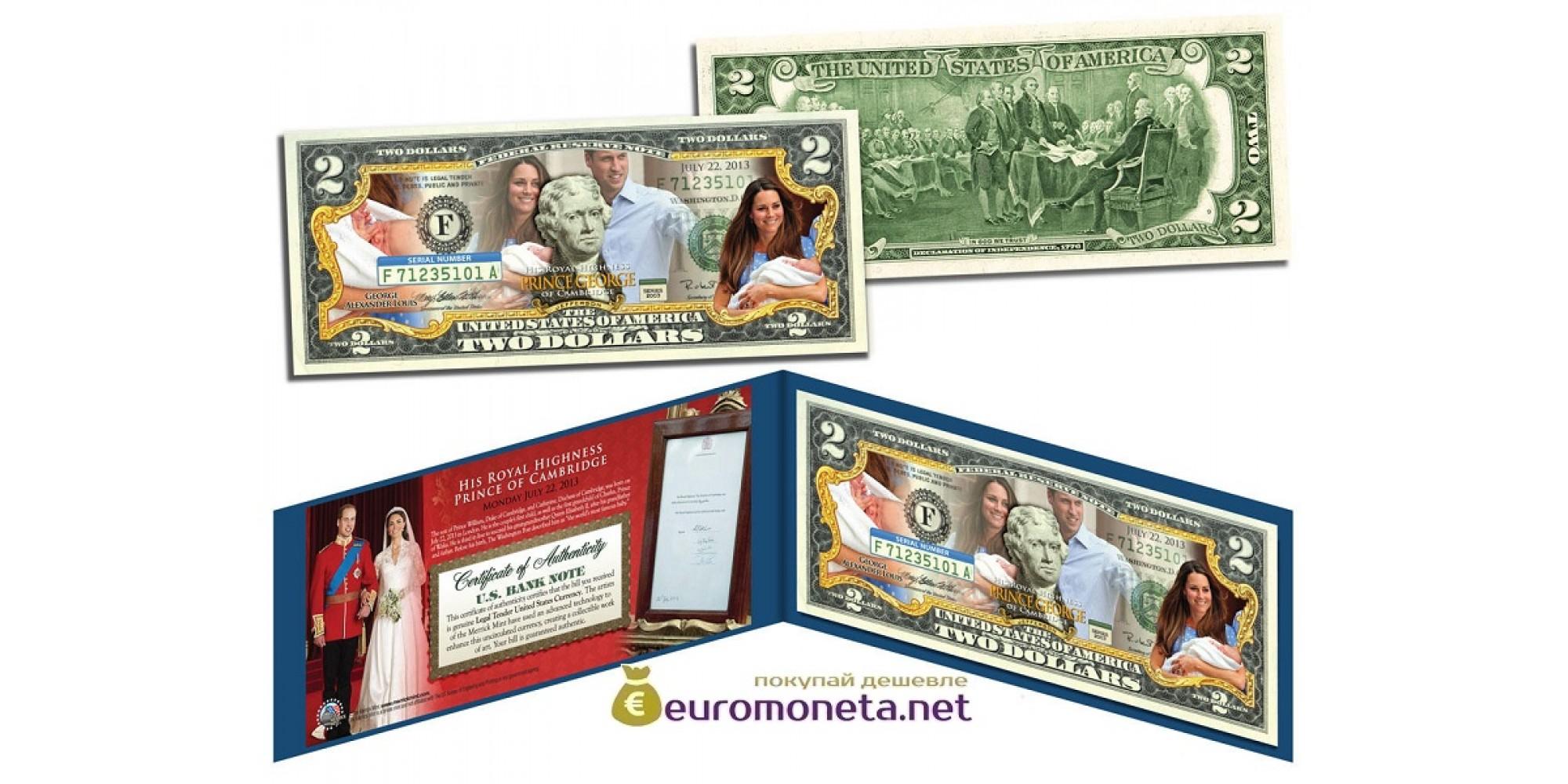 США 2 доллара 2003 Принц Георг Кембриджский цветные фотопечать оригинал