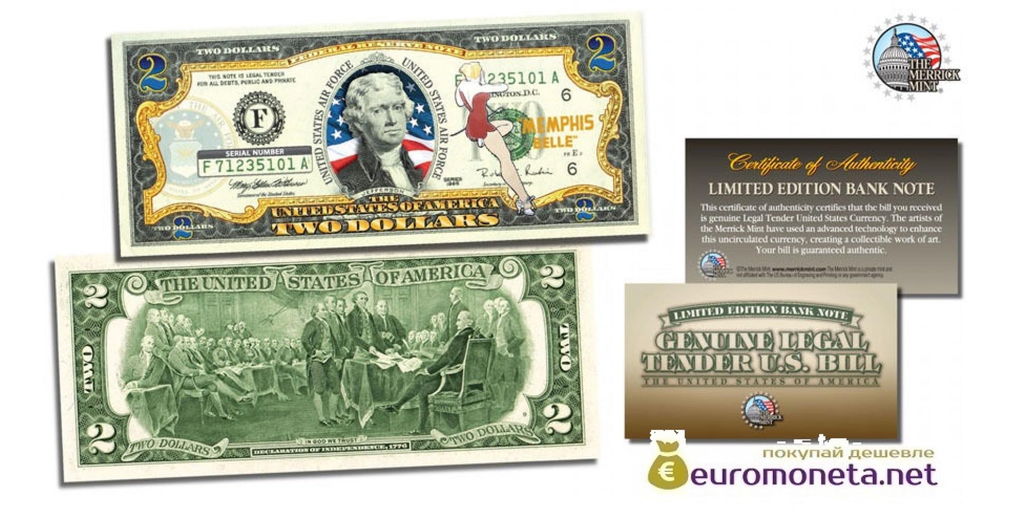 США 2 доллара 2003 ВВС США Вторая Мировая война фотопечать цветные оригинал