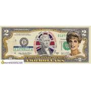США 2 доллара Принцесса Диана 1961-1997 цветные фотопечать оригинал