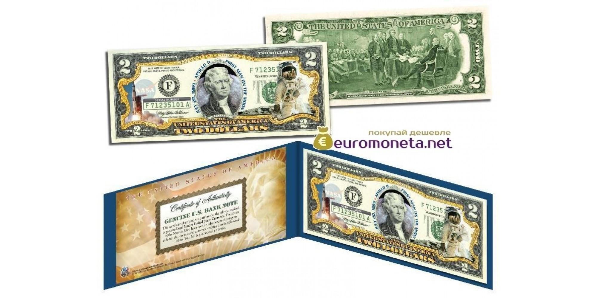 США 2 доллара Аполлон -11 первый на Луне цветные фотопечать оригинал