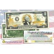 США 2 доллара флот США ВМС золотое тиснение оригинал