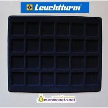 Германия флокированный планшет тип S, лоток для монет 24 квадратных ячеек, 33 мм, Leuchtturm, синий