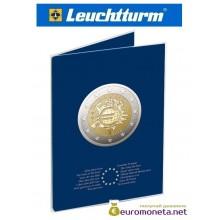 """Leuchtturm буклет для хранения монет 2 евро 5 ячеек """"10-я годовщина введения евро"""", Германия"""