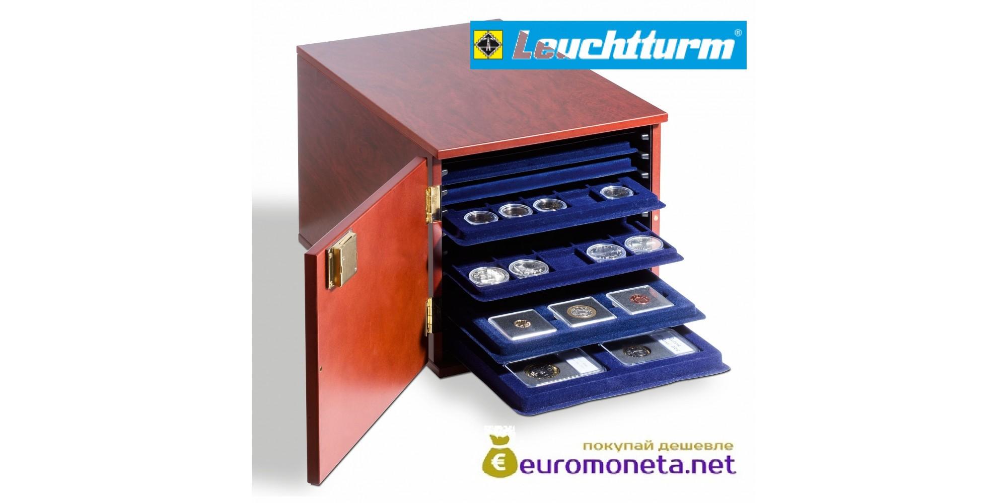 Кофр красное дерево кейс для монет, вместимость 10 планшетов (кассет) Tab L Leuchtturm Германия