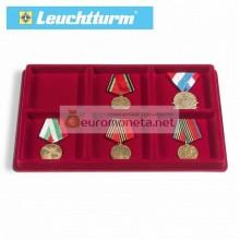 Флокированный планшет лоток для монет, наград, медалей и прочего, 6 ячеек 95 мм, Leuchtturm, красный