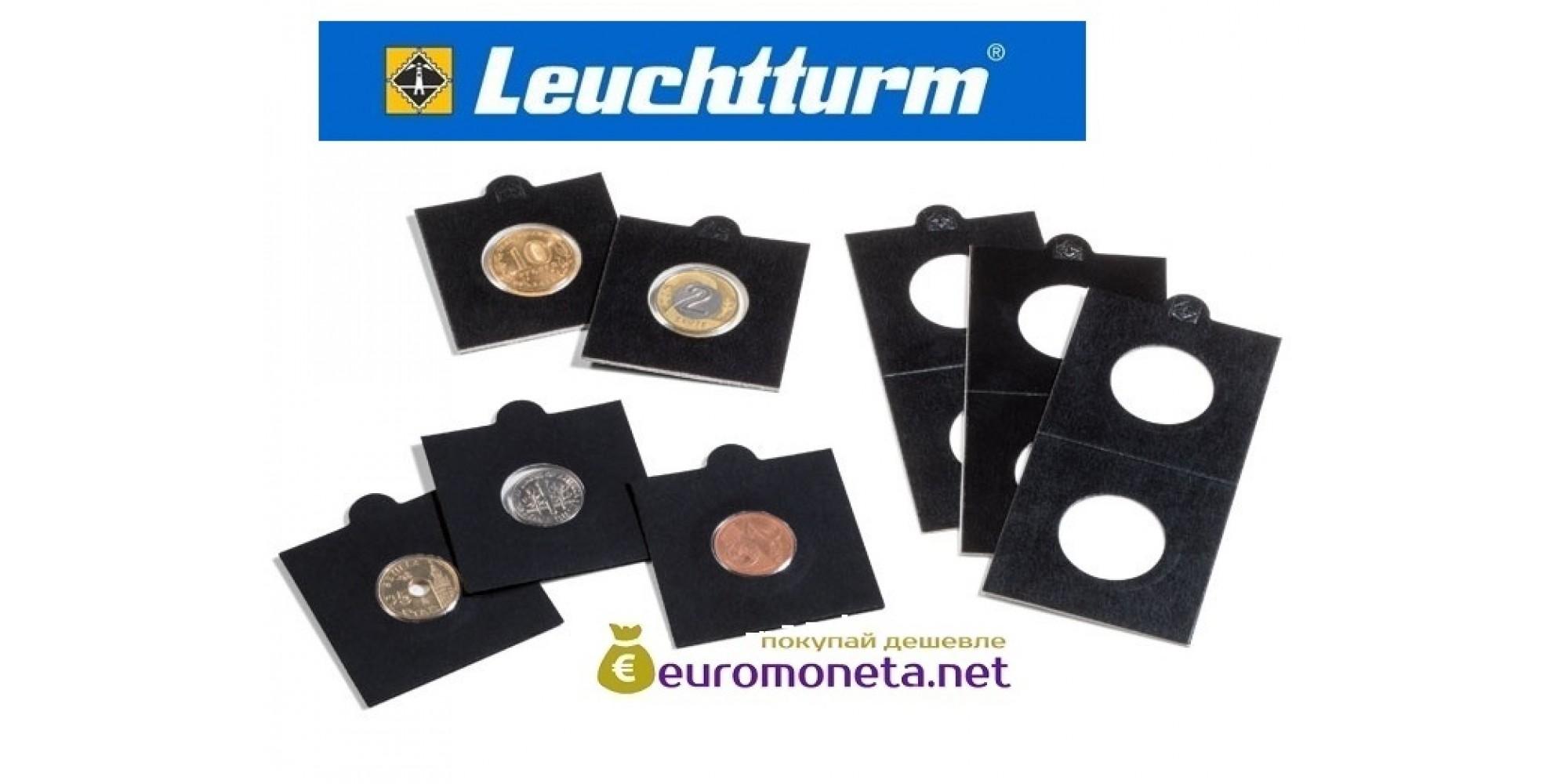 Германия Leuchtturm чёрный холдер 39,5 мм для монет, Matrix самоклеющиеся