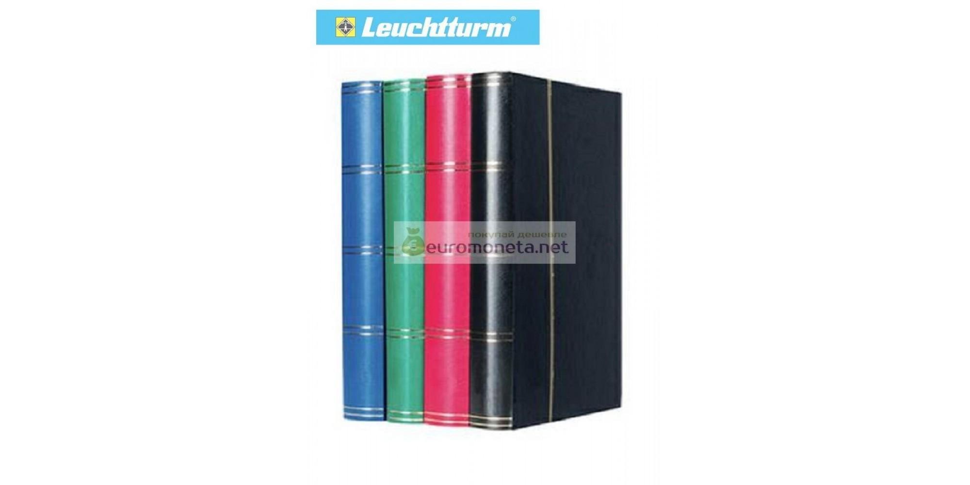 Leuchtturm альбом для марок BASIC DIN A4 30 листов (60 страниц) из чёрного картона с промежуточными листами из пергамина, жёсткая обложка, зелёный