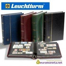 Leuchtturm альбом PREMIUM DIN A4 S32 бордовый, чёрные страницы, кожаная обложка, Германия