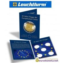 """Leuchtturm буклет для хранения немецких монет 2 евро 5 ячеек """"30 лет флага ЕС"""", Германия"""