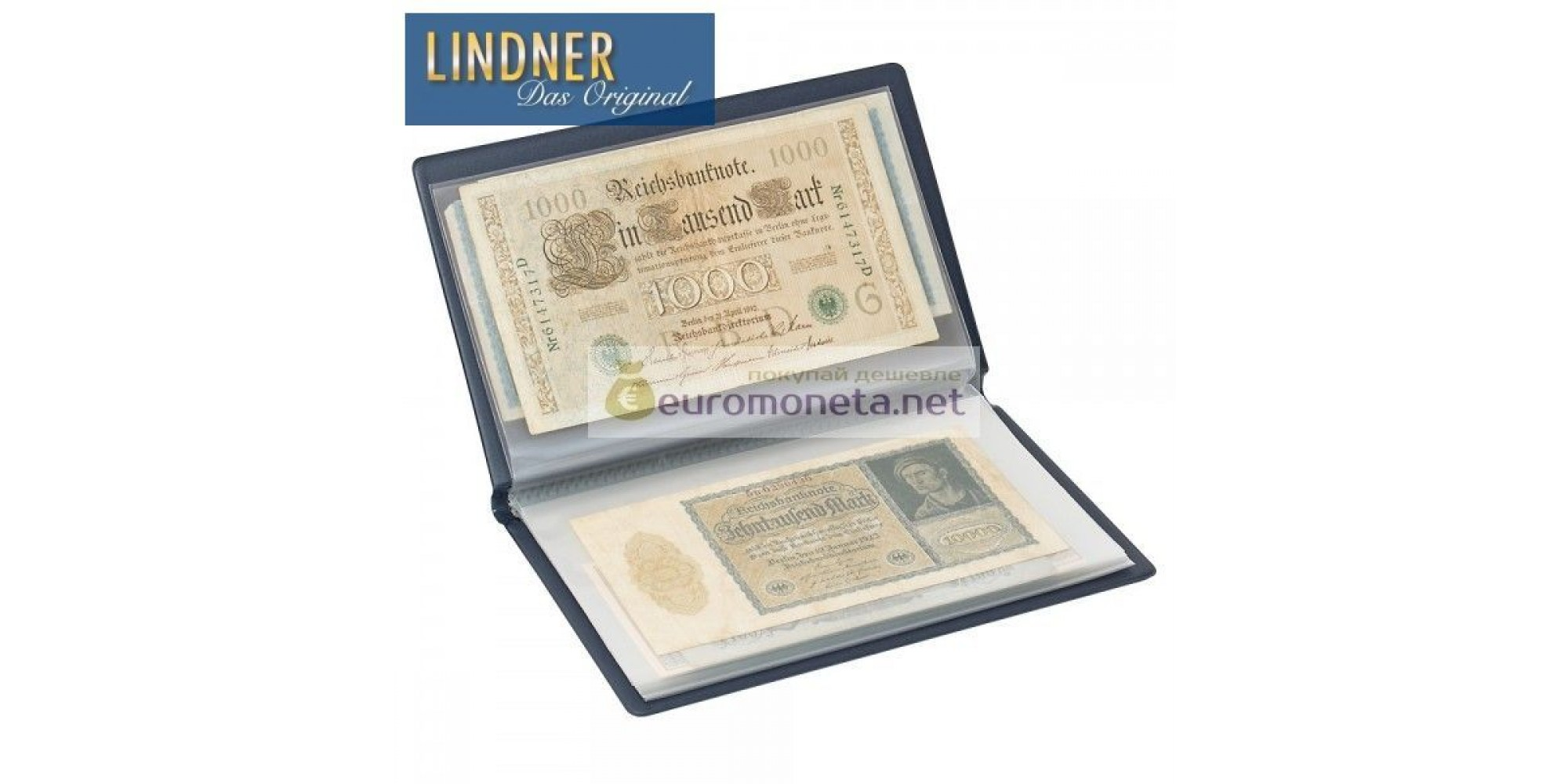 Карманный альбом для банкнот, открыток, конвертов и прочего, синий, пр-во Lindner Германия