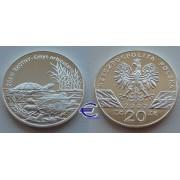 Польша 20 злотых 2002 год Черепаха пруф Proof серебро