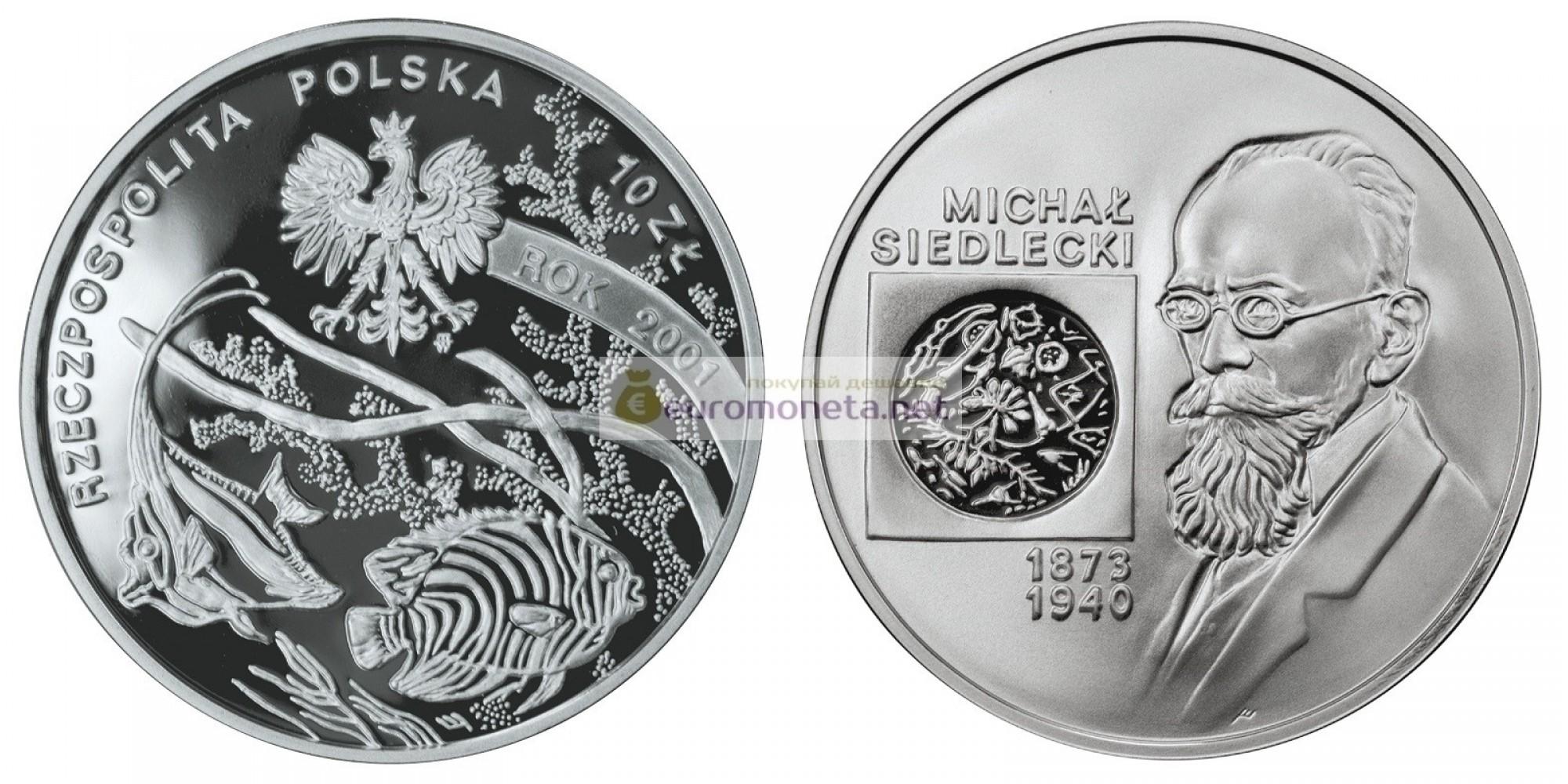 Польша 10 злотых 2001 год Польские путешественники и первопроходцы Михал Седлецкий (1873-1940) серебро пруф