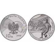 Польша 10 злотых 2002 год Чемпионат мира по футболу Корея / Япония серебро пруф