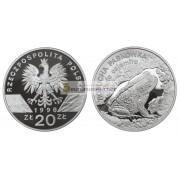 Польша 20 злотых 1998 год Животные мира: обыкновенная жаба серебро пруф