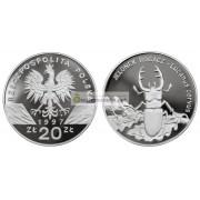 Польша 20 злотых 1997 год Животные мира: жук олень серебро пруф