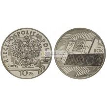 Польша 10 злотых 2001 год с голограммой 2001 года серебро пруф