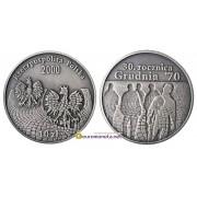 Польша 10 злотых 2000 год 30-летний юбилей декабря 70 серебро пруф