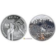 Польша 10 злотых 2008 год Сибиряки серебро пруф proof