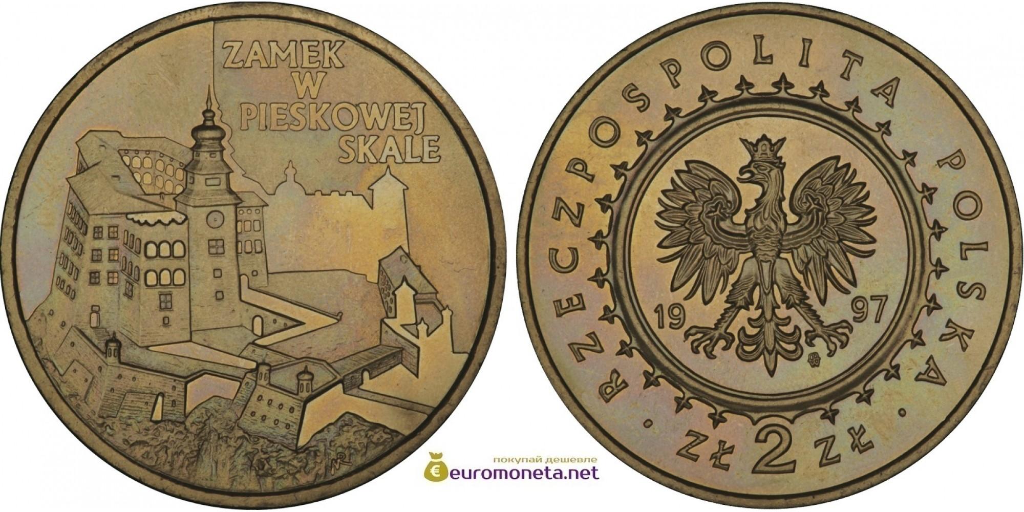Польша 2 злотых 1997 год замки и дворцы Польши: Замок в Песковой Скале (Zamek w Pieskowej Skale)