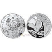 Польша 20 злотых 2010 год Животные Мира - Малый подковоноса (лат. Rhinolophus hipposideros) серебро пруф