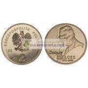 Польша 2 злотых 2011 Чеслав Милош (1911-2004), АЦ