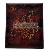 Альбом карта Европы сегрегатор Optima с кольцевым механизмом, бордовый, искусственная кожа, корешок 40 мм, пр-во Россия