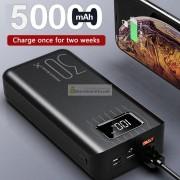 Внешний аккумулятор Power Bank 50000 mAh micro USB, QC, быстрая зарядка, светодиодный дисплей, чёрный