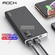 Внешний аккумулятор Rock Power Bank 10000 mAh с двумя USB-портами, быстрая зарядка, белый