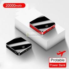 Внешний аккумулятор Rock mini Power Bank 20000 mAh с двумя USB-портами, фонарик, чёрный