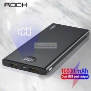 Внешний аккумулятор Rock Power Bank 10000 mAh с двумя USB-портами, чёрный