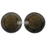 Намибия 10 долларов 2010 год 20 лет Банку Намибии, биметалл. АЦ из банковского ролла