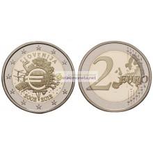 Словения 2 евро 2012 год АЦ 10 лет наличному обращению евро, биметалл. АЦ из ролла