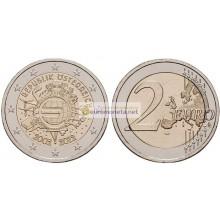 Австрия 2 евро 2012 10 лет наличному обращению евро, АЦ из банковского ролла, биметалл.
