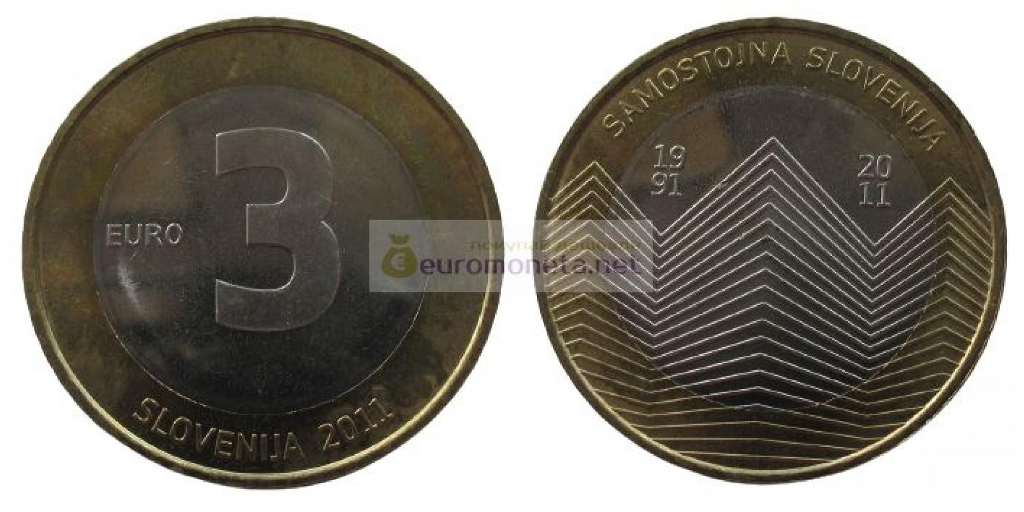 Словения 3 евро 2011 год. 20 лет независимости Словении. АЦ из ролла