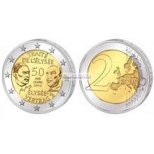 Франция 2 евро 2013 год 50 лет Елисейскому договору, биметалл. АЦ