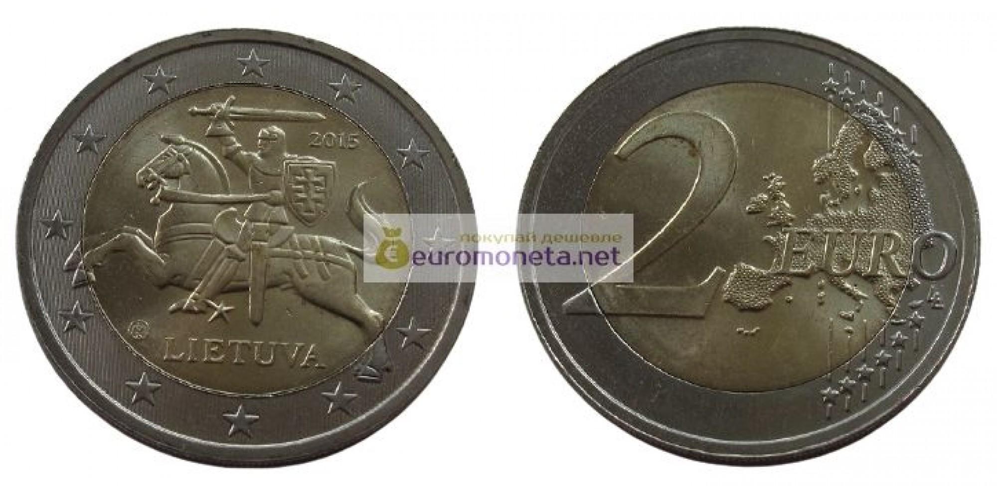 Литва 2 евро 2015 год, биметалл, AU