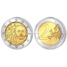Франция 2 евро 2013 год 150 лет со дня рождения Пьера де Кубертена, биметалл. АЦ