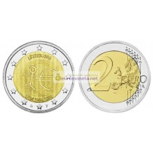 Люксембург 2 евро 2009 год 10 лет Экономическому и валютному союзу, биметалл АЦ из ролла