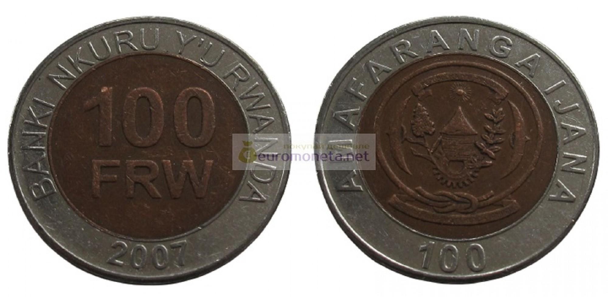 Руанда 100 франков, 2007 год. биметалл