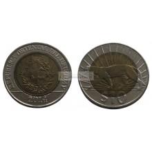 Уругвай 10 песо 2014 год, биметалл.