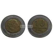 Уругвай 10 песо 2000 год. биметалл.