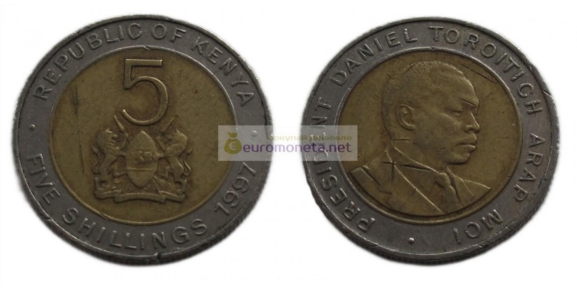 Кения 5 шиллингов 1997 год. Биметалл