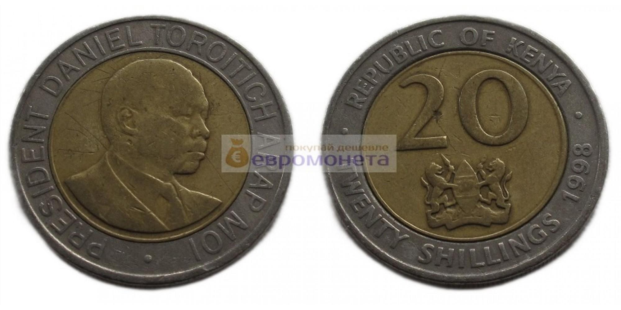 Кения 20 шиллингов 1998 год. Биметалл