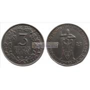 Веймарская республика 3 марки 1925 год D. Тысячелетие Рейнской области (Рейнланда). Серебро