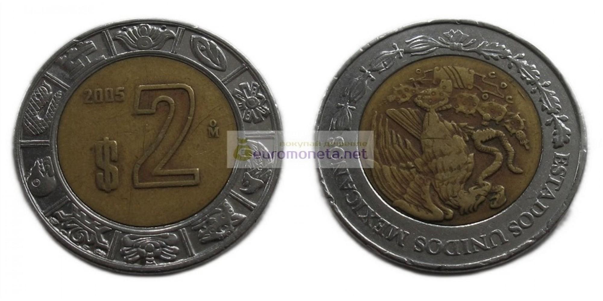 Мексика 1 песо 2005 год. биметалл