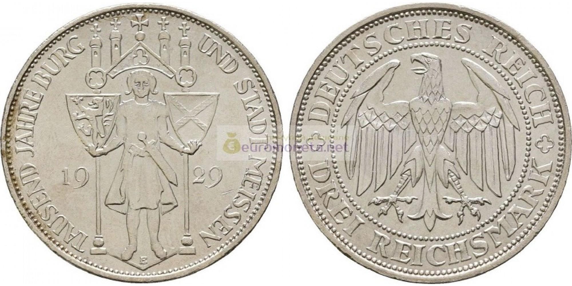 Германия Веймарская республика 3 рейхсмарки, 1929 год 1000 лет Мейсену. Серебро. UNC / АЦ