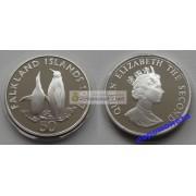 Фолклендские острова 50 пенсов 1987 год королевские пингвины серебро пруф