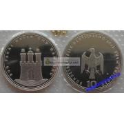 ФРГ 10 марок 1989 год J 800-летие Гамбургской Гавани серебро запайка пруф