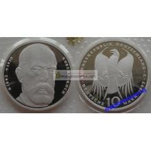 ФРГ 10 марок 1993 год J 150 лет со дня рождения Роберта Коха серебро запайка пруф